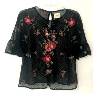 Maeve Anthropologie | Black Cadiz Sheer Lace Top